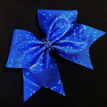 Blue cheer bow, cheer bows, cheerleading bow, cheerleader bow, cheer bow, softball bow, cheerbows, dance bow, practice bow, shattered glass