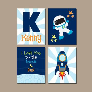 SPACE Wall Art, Outer Space Theme Bedroom Wall Decor, Astronaut Rocket, Boy Nursery Decor, CANVAS or Print, I Love You to the Moon, Set of 4