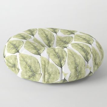 Faded Green Leaves Floor Pillow by inspiredimages