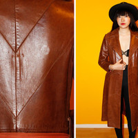 70s Brown / Buttery Soft / Patch Leather Trench Coat- Size S-M