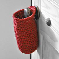 Extra Deep Red Thin  Hanging Storage Basket Office Organizer Doorknob Catchall Crocheted Decor Supply Holder Back to School Dorm Decor