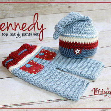 Newborn Hat and Pants - Patriotic Hat - Photo Prop - Red White and Blue