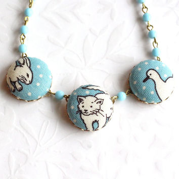 Easter Bunny Necklace Easter Basket Kitty Duck Little Girl's Children Jewelry Retro Fabric Baby Animals Covered Button