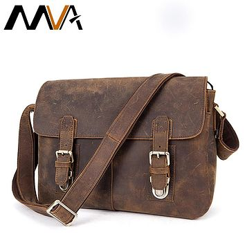 Men Briefcase Genuine Leather Bag Crazy Horse Documents Office Bags for Mens Messenger Bag Men Shoulder Leather Laptop Bags
