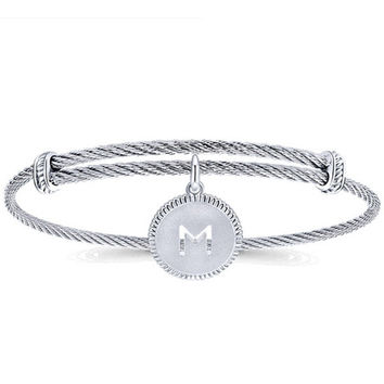 Gabriel Stainless Steel & Silver Initial Bangle Cable Bracelet