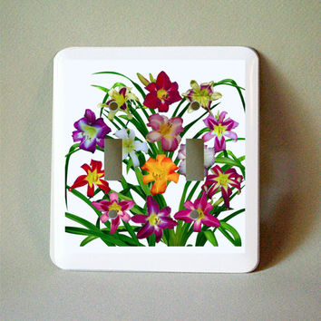 Decorated light switch plate, Daylily flowers, floral decor, gardener, wall decoration, ornamental Hemerocallis, purple, red, yellow, pink