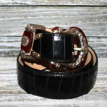 Vintage Brighton Belt Black Leather Ornate Silver Buckle Tortoise Shell Buckle Women Belts Small Genuine Leather Vintage Women Accessories