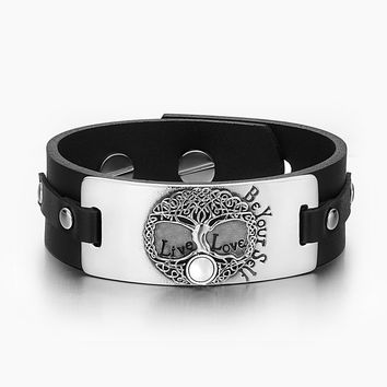 Tree of Life Live Love Be Your Self Celtic Magic Amulet White Simulated Cats Eye Black Leather Bracelet