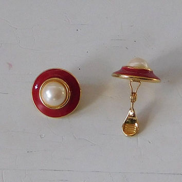Monet Red Enamel Faux Pearl Cabochon Clip On Earrings Gold Tone Domed Earrings Signed Vintage Costume Jewelry