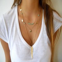 Stunning Triple Layered Long Feather and Blue Beaded Boho Long Gold Tone Necklace