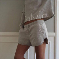 Letter printing sports women 's sets Grey romper