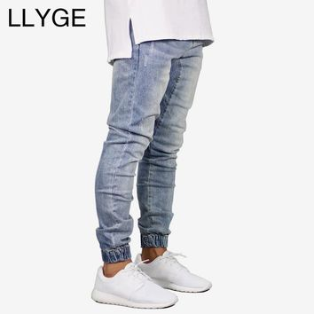 2018 Autumn Men Stretch Jeans Casual Slim Fit Ripped Male Denim Trousers Fashion Skinny Hip Hop Denim Joggers Jeans For Men
