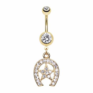 Golden Star Lucky Horseshoe Belly Button Ring