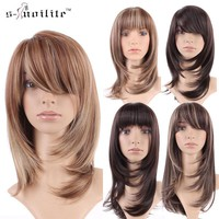 Short  Wigs High Heat Resistant Synthetic Full Head Hair Wig