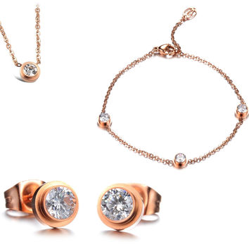 Rose Gold Plated Titanium White Cubic Zirconia Crystal Jewelry for Fall Winter [9047549959]