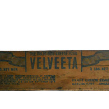 Vintage Wood Crate Velveeta Small Rectangular Box - Holds 2 Lbs - Kraft Chese Company Chicago- Blue and Red Graphics