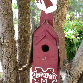 Collegiate Reclaimed Wood Mississippi State Birdhouse In Maroon With Hand Painted Cowbell