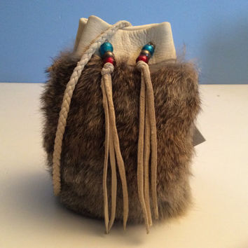 Leather Pouch Handmade Deer Hide with Rabbit Fur Pouch Deer Hide Drawstring Bag Possibles Bag Canadian Made