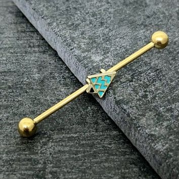 Gold Plated industrial barbell, tribal triangle turquoise body piercing jewelry