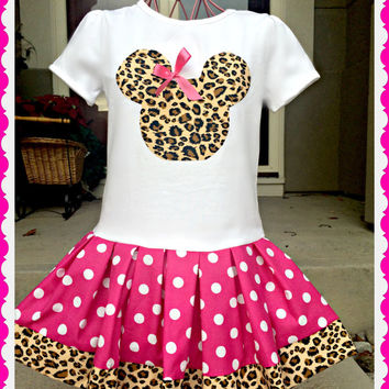 Minnie Mouse dress Hot Pink Cheetah 2t 3t 4t 5 6/6X 7/8 10/12 14/16 Ready To Ship
