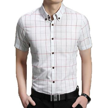 Men Short Sleeve Shirt  Plaid Shirt Male Dress Shirts Mens