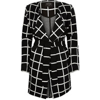 Black check jersey belted jacket - belted / wrap coats - coats / jackets - women