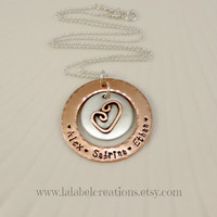 The Love Between a Mother Personalized Necklace, Copper Sterling Hand Stamped Jewelry, Heart Pendant, Mommy Necklace, Kids Names Necklace