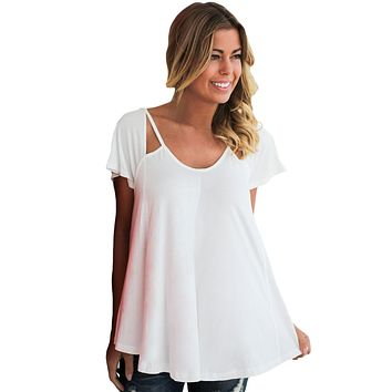 White Cutout Cold Shoulder Flowy Top