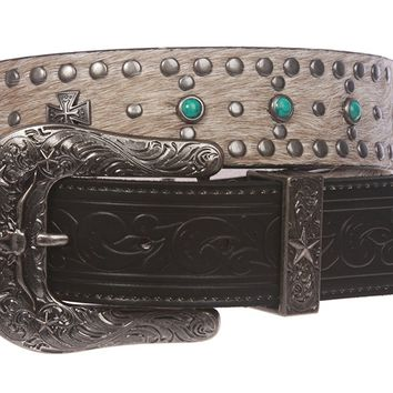 Western Cowgirl Snap On Cross Turquoise Studded Leather Belt With Animal Fur