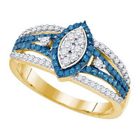 10k Yellow Gold 0.85Ct Blue Diamond Fashion Ring: Ring