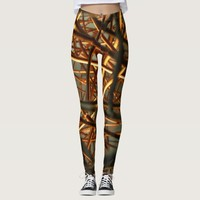 Rusty metal bar abstract modern pattern leggings