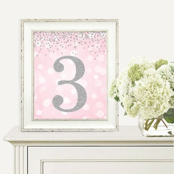 Birthday Print, 3rd Birthday Party Sign, Number 3, 3rd Birthday Party, Third Birthday, Pink and Silver Glitter, Printable Party Decorations
