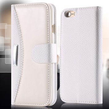 With Logo Business Fashion Flip Leather Case For iPhone 5 5S SE Card Slot Wallet Holster Phone Cover For iPhone 7 5 5S 6 6S Plus