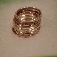 FREE SHIPPING Sterling Silver Copper Red Brass Hammered Stacking Rings Handmade Jewelry Gift Idea