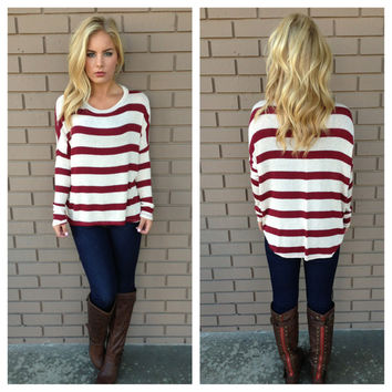 Burgundy Let it Shine Stripe Knit Top