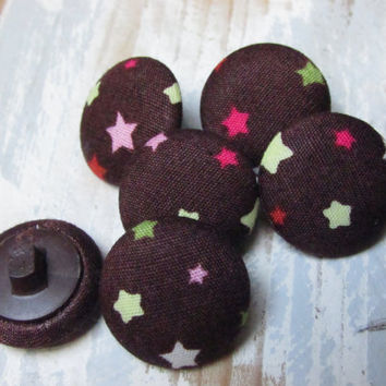 Fabric Buttons - Brown Stars Kawaii Fabric - Fridge Magnets - Flat Back Buttons - Sewing Buttons - Covered Buttons - 6 small buttons - DIY