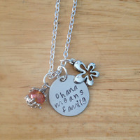 Ohana Means Family Hand Stamped Charm Necklace, Lilo & Stitch Necklace, Ohana Necklace