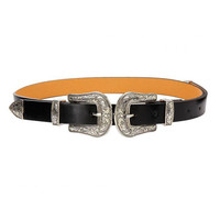 Carving Embellished Double Buckle Waist Belt in Black