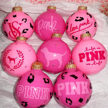 Victoria Secret VS PINK 8PC Glass Ornament Set
