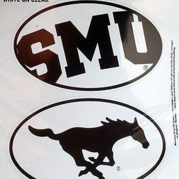 Southern Methodist Mustangs SMU 2-Pack EURO STYLE Home Auto Decals University