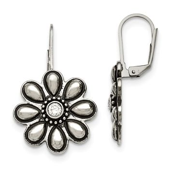 Stainless Steel Polished/Antiqued CZ Flower Leverback Earrings