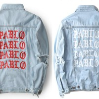 20167 Newest TOP oversized Jacket Kanye West I FEEL LIKE PABLO Denim Coats hiphop Four Two Four 424 broken hole jean