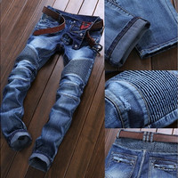 High Quality Ripped Jeans Men Fashion Patchwork Moto Jeans 2016 New Mens Pants Slim Fit Jeans Brand Men Biker Denim Jean men [8833376588]