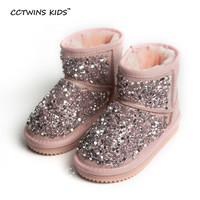 CCTWINS KIDS winter baby girls pink snow boots for children genuine leather shoes kids fashion rhinestone shoes toddler boots