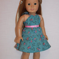 18 inch doll clothes, blue and pink floral print circle/skater skirt, matching halter top and belt, american girl, Maplelea