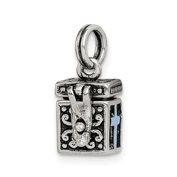 925 Sterling Silver Enameled Prayer Box Charm and Pendant