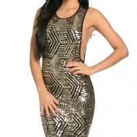 Open Side Geo Pattern Sequin Midi Dress in Black and Gold