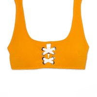 Lace Front Top - Tangerine