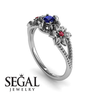 Unique Engagement Ring 14K White Gold Flowers Art Deco Filigree Ring Sapphire With Ruby - Kennedy