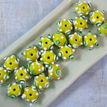 Indian Lampwork Yellow Dotted Glass Beads 50% off, qty 20